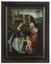 maria, sankta anna och jesusbarnet by master of the antwerp adoration