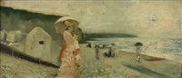elegant kvinna med parasoll på strand - dieppe by alfred stevens