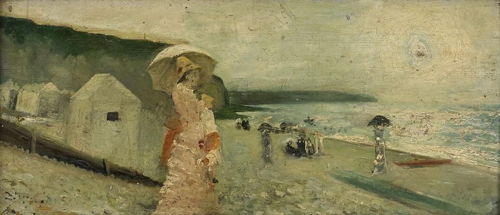 elegant kvinna med parasoll på strand dieppe by alfred stevens