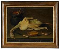 stilleben med plockad fågel by jacob van der kerckhoven