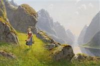 fjordlandskap med vandrande flicka by hans dahl
