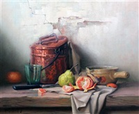 still life of copper pots and fruit by robert chailloux