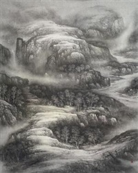 山涧溪水 (landscape) by xu changjiang