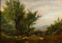 sheep grazing in the pasture by john linnell