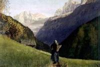 walliser berglandschaft mit bauernfrau by walter küng