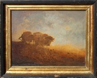 man plowing with cattle by a.s. campbell