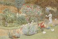 trädgårdslandskap med kvinna och vita duvor by frederick hamilton jackson