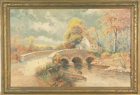 stone bridge over river landscape by george a. newman
