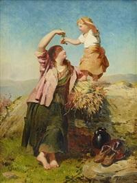 landskap med mor och dotter by james john hill