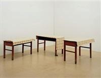 drei tische mit braunen beineni, ii, iii (3 works) by ricarda roggan