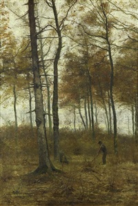autumn landscape with figure by henry pieter edward rul
