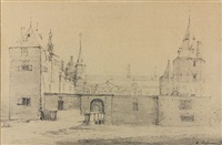 view of a castle entrance by roelant roghman