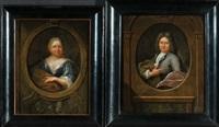 damen- und herrnportrait in gemalter holzeinfassung mit allegorischer ausschmückung (pair) by hieronymus van der mij