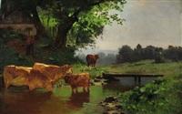 magd mit kühen am flussufer unterhalb des bauernhauses, welches am waldrand liegt by hermann baisch
