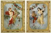 allegorier över hösten och våren - ett par (pair) by georg cornicelius
