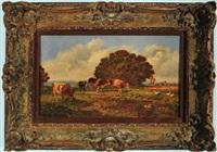 kühe und gänse am bachlauf auf der weide mit blick auf ein kleines bayerisches dorf by hermann baisch