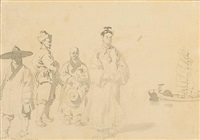 chinese figures (various sizes; set of 2) by william alexander