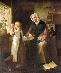 en lille pige træder en nål for sin bedstemor by d. scott