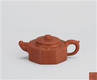 中华魂 (hexangular shaped teapot with dragon shaped spout and thumb rest) by gao qun and li changhong