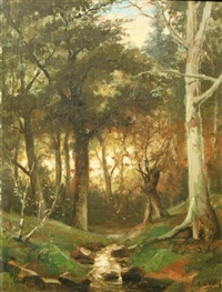 forest landscape with brook by eugene jacques hubert wolters
