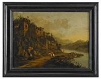 romantiskt flodlandskap med ryttare och figurer by horatius de hooch
