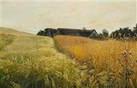 sommerlandskab med stråtækt gård omgivet af gyldne kornmarker by georg nicolaj achen