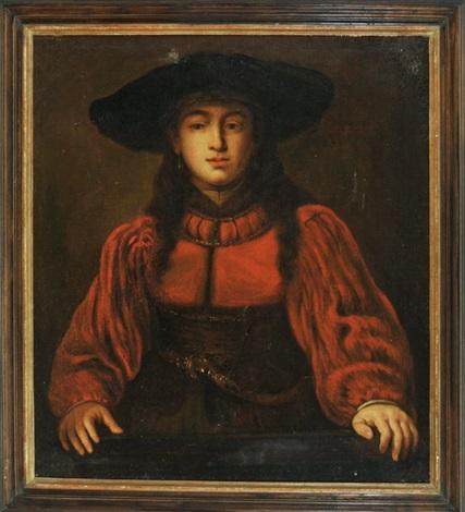 junge dame im roten kleid mit großem hut after rembrandt by jürgen ovens