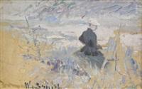 constance schultzberg målar på stranden, capri 1891 by wilhelm smith