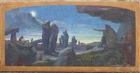 paysage nocturne fantastique by florimond metereau