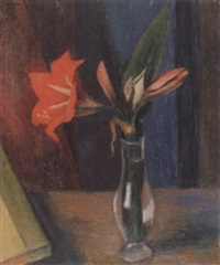 rote amaryllis in glasvase by heinrich (heiggi) müller