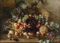 still life with a basket of fruits and vine leaves by yuliy yulevich (julius) klever