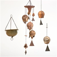 three pieces: two windbells and six-bell chime by paolo soleri