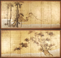 byobu mit kiefer und prunusbaum (+ byobu mit kiefer; pair of six part screens) by japanese school-kano (19)