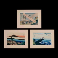 from thirty-six views of mt. fuji (3 works) by katsushika hokusai
