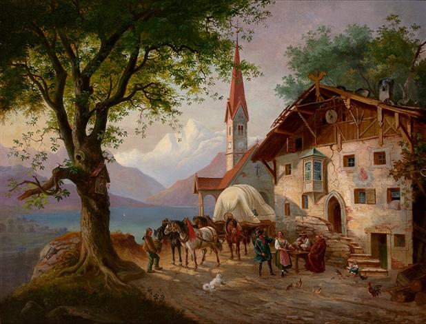 vierspänniges fuhrwerk und figurenstaffage mit rastenden reisenden vor malerischem gasthaus am seeufer by paul leuteritz