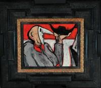 herr mit venezianischer maske und kleiner gondel by christian peschke