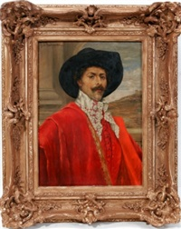 portrait of a man in red by a. d' ambrossi
