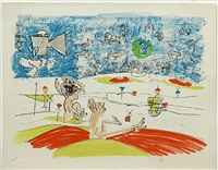 untitled #1; untitled #2 (2 works) by roberto matta