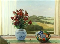 marcel dyf (french, 1899-1985), window with still life, oil on canvas, signed lower right, canvas: 23.75