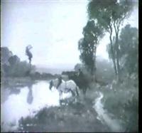 pferdeknecht mit braunem und schimmel an einem       baumbestandenen kanal bei der schwemme by bruno langevin