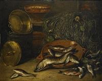 stilleben med insjöfisk och fiskeredskap by jan rentinck