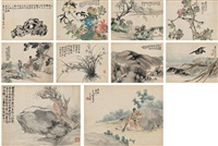 花鸟·山水·人物 (including ren xun, hu gongshou, sha fu, deng qichang, etc. flower and bird·landscape·figures) (album of 10) by various chinese artists