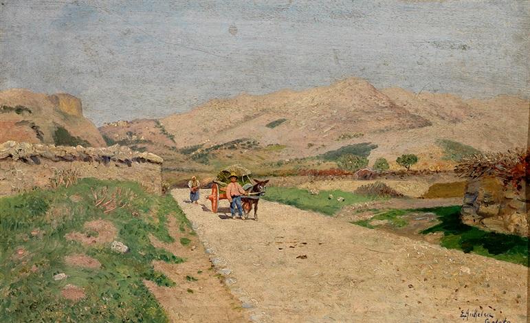 dalmatinische landstraße südliche landschaft mit eselskarren und personenstaffage by eugen ankelen