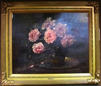 still life with flowers in a vase by louis van hoorde