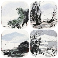 spring scenery, goose in autum, mountain after the rain, boating in the snowing winter (4 works) by cui ruzhuo