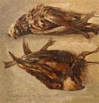 jachtstilleven met twee dode vogels by johannes (jan) tavenraat