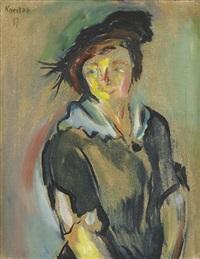 porträtt av ung kvinna med hatt by ludvig peter karsten