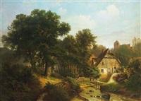 malerische alte mühle neben wald. im hintergrund aufragender kirchhügel by gustav pflugradt