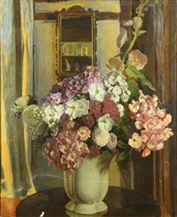 still-life with flowers in a vase by charles daniel ward