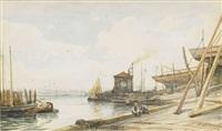 harbour scene by aleksei petrovich bogolyubov